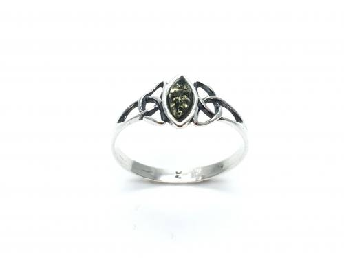 Silver Celtic Green Amber Marquise Ring