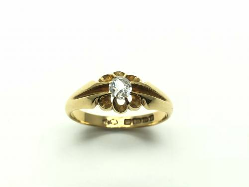 An Old 18ct Yellow Gold Diamond Solitaire Ring
