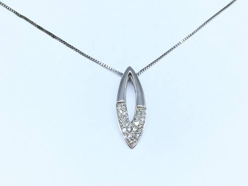 9ct Diamond Marquise Shaped Pendant & Chain