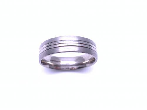 Palladium Flat Machined Court Ring 6mm