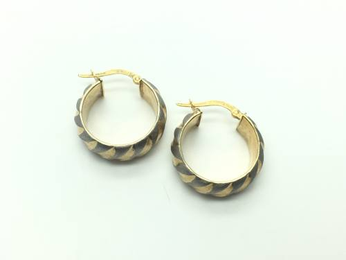 9ct Yellow & White Gold Stiped Hoop Earrings