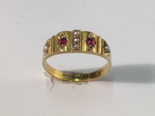 An Old 15ct Ruby & Pearl Ring Chester 1880