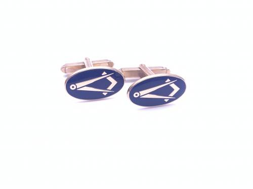 9ct Yellow Gold Blue Enamel Masonic Cufflinks