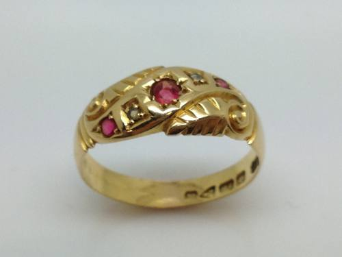 An Old 18ct Ruby & Diamond Ring Chester 1915