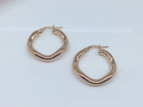 9ct Rose Gold Wavy Hoops 20mm