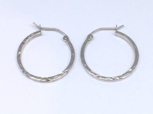 9ct White Gold Diamond Cut Hoops Earrings