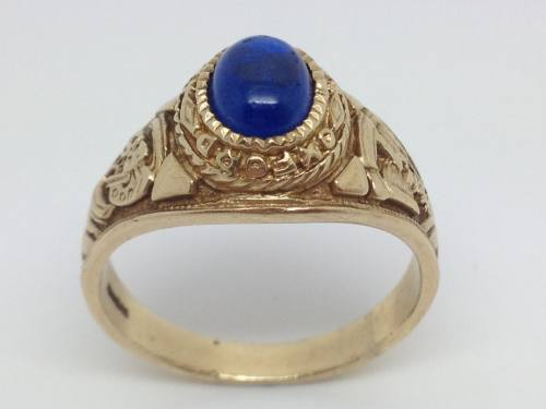 9ct Yellow Gold Blue College Ring
