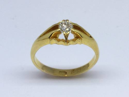 Edwardian 18ct Diamond Solitaire Birmingham 1902