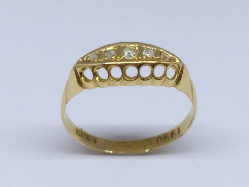 An Old 18ct Yellow Gold Diamond Ring Chester 1912