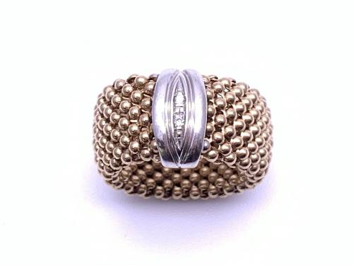 9ct Yellow Gold Diamond Set Mesh Ring