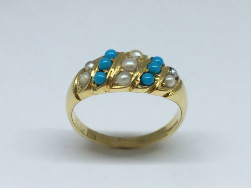 An Old Turquoise & Seed Pearl Ring
