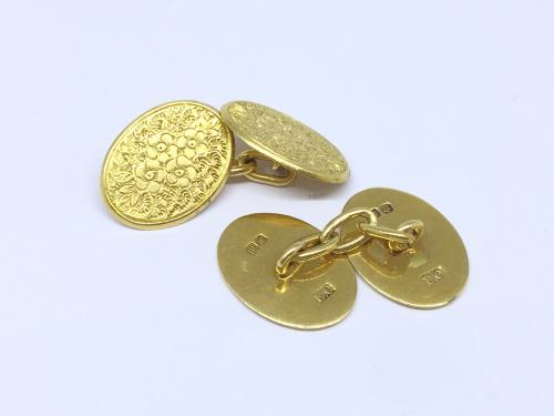 18ct Yellow Gold Engraved Cufflinks