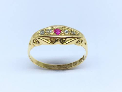 Synthetic Ruby & Diamond Ring 1914