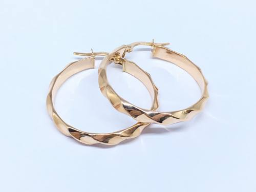 9ct Rose Gold Wave Pattern Hoop Earrings 25mm