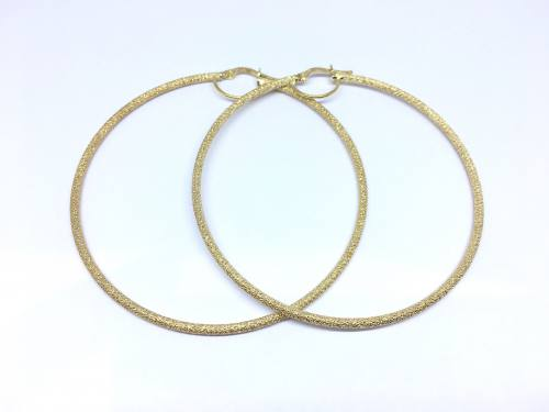 9ct Yellow Gold Shimmer Hoop Earrings 60mm