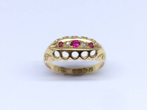 18ct Synthetic Ruby & Diamond Ring 1918