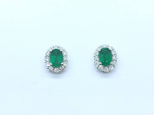 18ct White Gold Emerald & Diamond Earrings 0.42ct