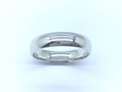9ct White Gold D shaped Wedding Ring 5mm Size W