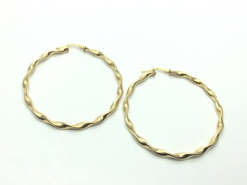 9ct Yellow Gold Round Patterned Hoops