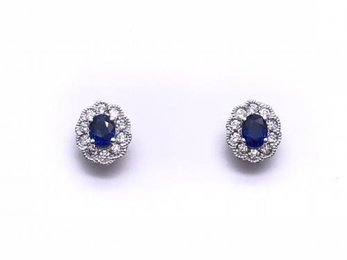 18ct White Gold Sapphire & Diamond Earrings 0.24ct