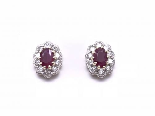 9ct Yellow Gold Ruby & Diamond Cluster Earrings