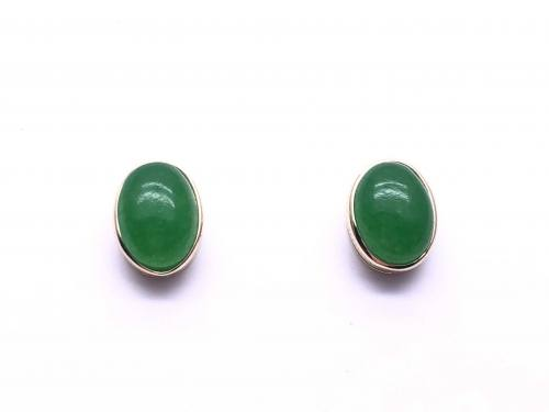 9ct Yellow Gold Oval Shaped Jade Earrings