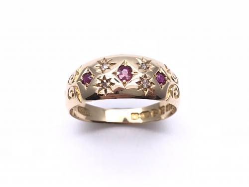 An Old 18ct Ruby & Diamond Ring Chester 1908