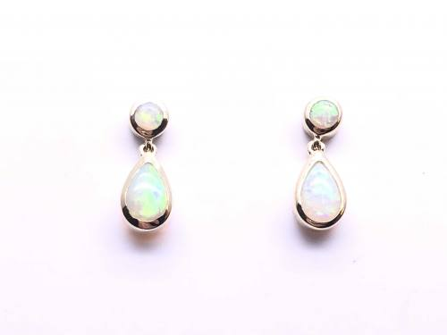 9ct Yellow Gold Pear Shaped Opal Earrings