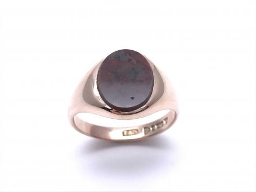 An Old 9ct Yellow Gold Agate Ring Chester 1922