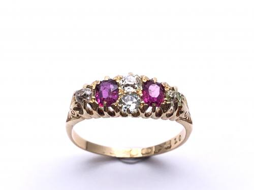 Victorian 18ct Ruby & Diamond Ring Chester 1900