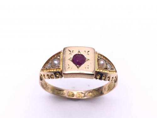 Victorian 15ct Yellow Gold Ruby & Pearl Ring