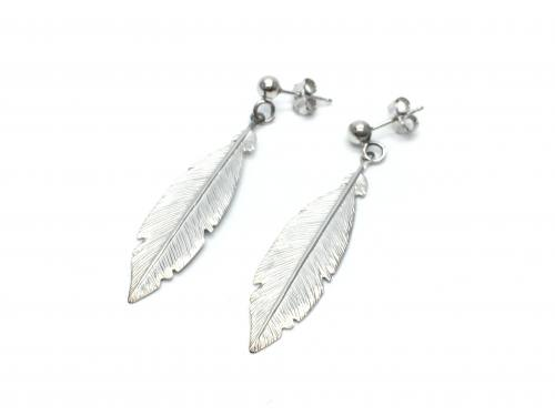 Silver Rhodium Plated Feather Drop Earrings 45mm