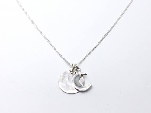 Silver Hammered Disc & Plain Moon Pendant & Chain