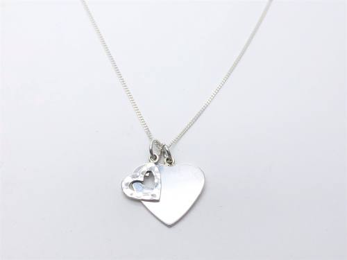 Silver Hammered & Plain Double Heart & Chain
