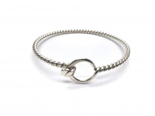 Silver Rope Effect Circle Hook Clasp Bangle