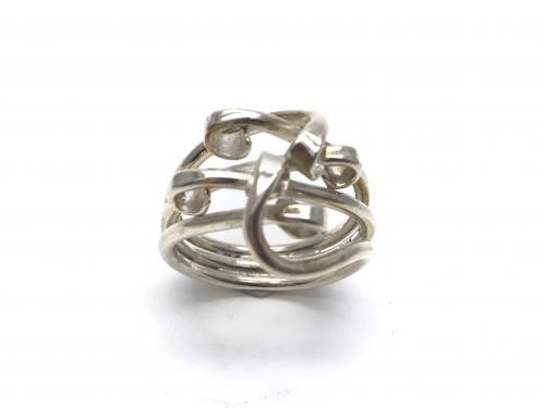 Silver Interwoved Design Ring Size N