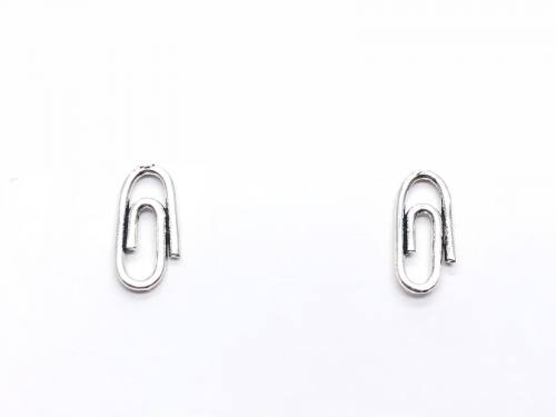 Silver Paperclip Stud Earrings