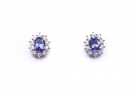 9ct White Gold Tanzanite & Diamond Cluster Earring