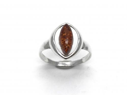 Silver Amber Fancy Marquise Ring