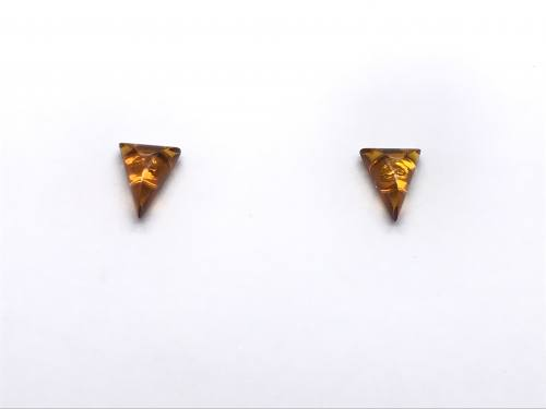 Silver Amber Triangle Stud Earrings