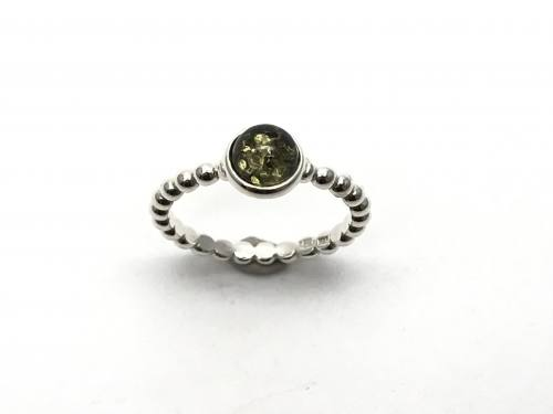 Silver Amber Stacker Ring