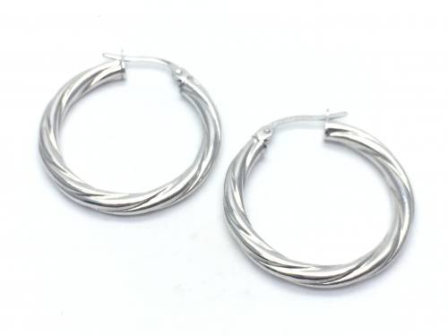 9ct White gold Hoop Twist Earrings