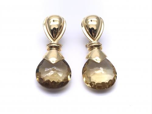 18ct Yellow Gold Citrine Drop Earrings