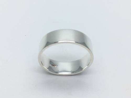 Silver Flat Wedding Ring 8mm Z plus 5