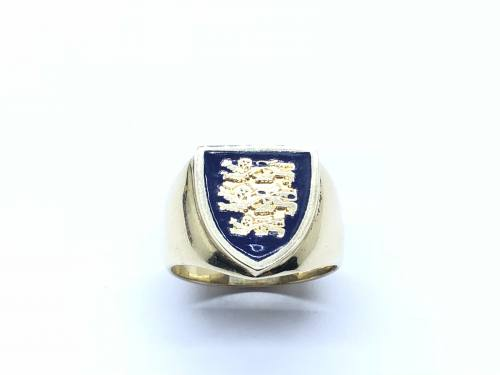 9ct Yellow Gold Three Lions Signet Ring