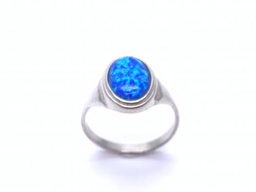 Silver Blue Created Opal Oval shaped Ring