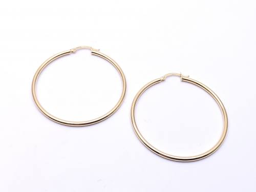 9ct Yellow Gold Plain Hoop Earrings 40mm