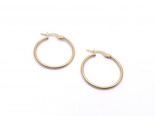 9ct Yellow Gold Plain Hoop Earrings 20mm