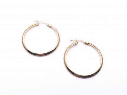 9ct Yellow Gold Plain Hoop Earrings 25mm