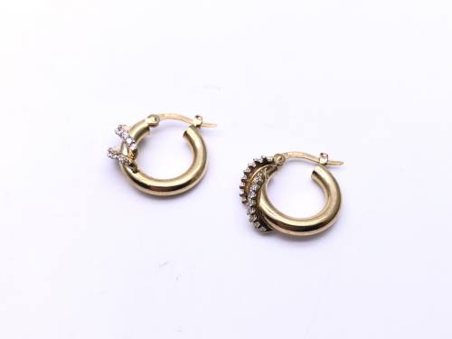9ct Yellow Gold CZ Hoop Earrings 10mm